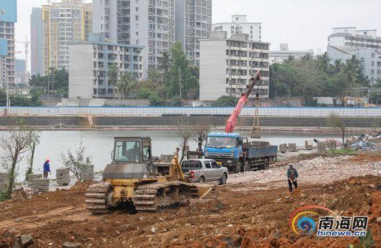 海口红城湖公园整改工作全面展开 争取今年9月完工