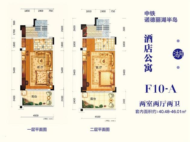 酒店式公寓 F10-A户型 建面约40.48-46.01平两房两厅两卫 两房两厅两卫.jpg